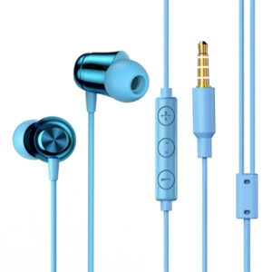 Baseus NGH13-03 3.5mm Plug Wired Eerphone with HD Microphone, Support for Call and Volume Adjustment(Blue)