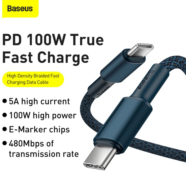 Baseus 100W Type-C To Type-C Fast Transmission Data Cable 5A 2 Meter - My  Gadget